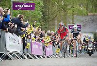 race leaders Greg Van Avermaet (BEL/BMC) and Stijn Vandenbergh (BEL/OPQS) coming up the Kruisberg<br /> <br /> Ronde van Vlaanderen 2014