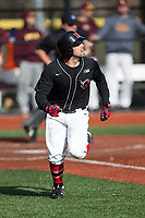 Dante Scafidi (32) of the Rutgers Scarlet Knights hustles down the first base line against the Iona Gaels at City Park on March 8, 2017 in New Rochelle, New York.  The Scarlet Knights defeated the Gaels 12-3.  (Brian Westerholt/Four Seam Images)