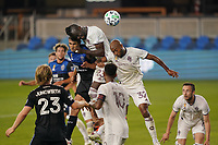 SAN JOSE, CA - SEPTEMBER 5: Chris Wondolowski #8 of the San Jose Earthquakes goes up for a header with Kei Kamara #23 of the Colorado Rapids and Collen Warner #32 of the Colorado Rapids during a game between Colorado Rapids and San Jose Earthquakes at Earthquakes Stadium on September 5, 2020 in San Jose, California.
