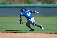 Los Angeles Dodgers second baseman Kenneth Betancourt (60) fields a ground ball during an Instructional League game against the San Diego Padres at Camelback Ranch on September 25, 2018 in Glendale, Arizona. (Zachary Lucy/Four Seam Images)