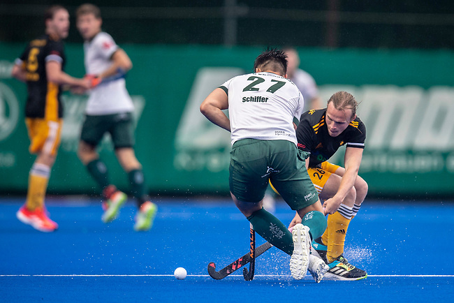 Krefeld, Germany, August 29: During the men final fieldhockey match between Harvestehuder THC and Uhlenhorst Muelheim on August 29, 2021 at the 1. Liga-Cup at Crefelder HTC in Krefeld, Germany. (Photo by Dirk Markgraf / www.265-images.com) *** Local caption ***