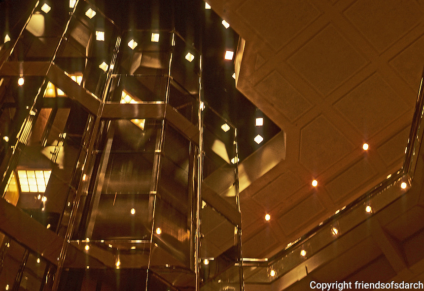 Chicago: Water Tower Place--Elevator shaft, ceiling. Photo '78.