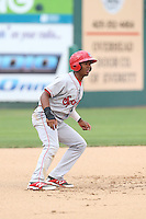 Darius Day (1) of the Spokane Indians leads off of second base during a game against the Everett AquaSox at Everett Memorial Stadium on July 24, 2015 in Everett, Washington. Everett defeated Spokane, 8-6. (Larry Goren/Four Seam Images)