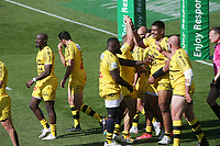 2nd May 2021; Stade Marcel-Deflandre, La Rochelle, France. European Champions Cup Rugby La Rochelle versus Leinster Semi-Final;  Will SKELTON of STADE ROCHELAIS is congratulated by team mates as he scores his try