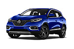Stock pictures of low aggressive front three quarter view of a 2019 Renault Kadjar Black-Edition 5 Door SUV