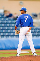 Duke Blue Devils starting pitcher Marcus Stroman #7 looks to his catcher for the sign against the Virginia Cavaliers at Durham Bulls Athletic Park on April 20, 2012 in Durham, North Carolina.  The Blue Devils defeated the Cavaliers 6-3.  (Brian Westerholt/Four Seam Images)