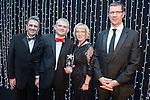 © Joel Goodman - 07973 332324 . 05/03/2015 .  Midland Hotel , Manchester , UK . L-R Eamonn O'Neill , winner Simon Chamberlain of Eversheds LLP , Louise Straw and sponsor (Baker Tilly Chartered Accountants) . Litigation Team of the Year . The Manchester Legal Awards 2015 . Photo credit : Joel Goodman