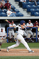 Aaron Burnett (7) of the Pepperdine Waves bats against the Texas A&M Aggies at Eddy D. Field Stadium on February 26, 2016 in Malibu, California. Pepperdine defeated Texas A&M, 7-5. (Larry Goren/Four Seam Images)