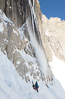 Icefall # 2 on the Diamond, Long's Peak, Rocky Mountain National Park.  Minutes earlier, these climbers were ascending this ice formation.