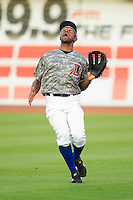 Right fielder Fernando Perez #7 of the Durham Bulls calls for the baseball against the Lehigh Valley IronPigs at Durham Bulls Athletic Park June 26, 2010, in Durham, North Carolina.  Photo by Brian Westerholt / Four Seam Images