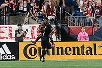 FOXBOROUGH, MA - AUGUST 4: Latif Blessing #7 of Los Angeles FC celebrates his goal with teammate during a game between Los Angeles FC and New England Revolution at Gillette Stadium on August 3, 2019 in Foxborough, Massachusetts.