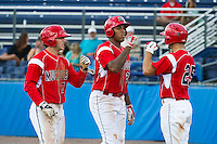 Batavia Muckdogs first baseman David Washington #28 (center) is greeted by Gary Apelian #25 after hitting a home run scoring Garrett Wittels #21 (left) during a NY-Penn League game against the Williamsport Crosscutters at Dwyer Stadium on August 12, 2012 in Batavia, New York.  Batavia defeated Williamsport 7-2.  (Mike Janes/Four Seam Images)