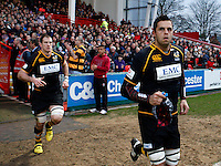 Photo: Richard Lane/Richard Lane Photography. Gloucester Rugby v London Wasps. Aviva Premiership. 26/12/2011. Wasps' Marco Wentzel leads the team out.