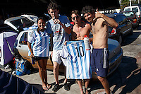 Argentina fans at the make-shift camp site for World Cup fans near Praca Onze in Rio de Janeiro