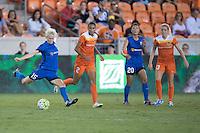 Houston, TX - Sunday Sept. 25, 2016: Megan Rapinoe, Poliana Barbosa during a regular season National Women's Soccer League (NWSL) match between the Houston Dash and the Seattle Reign FC at BBVA Compass Stadium.