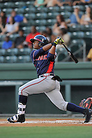 Center fielder Ronald Acuna (24) of the Rome Braves bats in a game against the Greenville Drive on Wednesday, August 31, 2016, at Fluor Field at the West End in Greenville, South Carolina. Rome won, 9-1. (Tom Priddy/Four Seam Images)