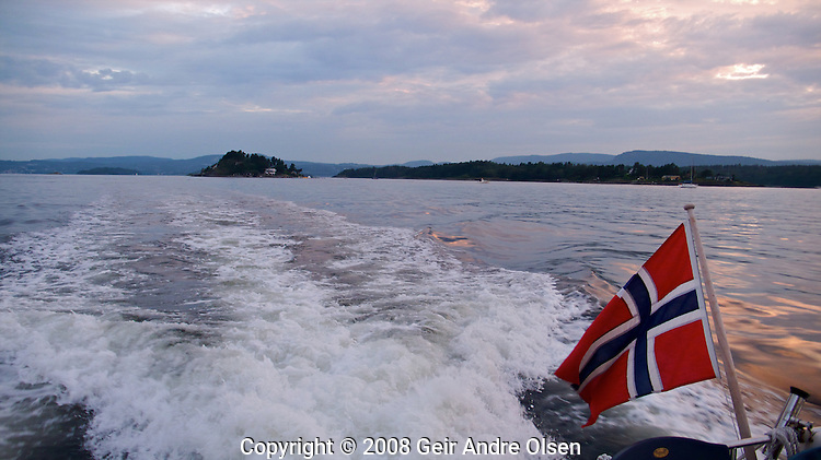 Boat on the Oslofjord, at a summer day just outside Oslo, Norway