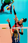 Ting Zhu of China attacks during the FIVB Volleyball Nations League Hong Kong match between China and Argentina on May 29, 2018 in Hong Kong, Hong Kong. Photo by Marcio Rodrigo Machado / Power Sport Images