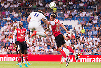Real Madrid's player Gareth Bale and Stade de Reims's player Da Cruz and Bouhours during the XXXVII Santiago Bernabeu Trophy in Madrid. August 16, Spain. 2016. (ALTERPHOTOS/BorjaB.Hojas) /NORTEPHOTO