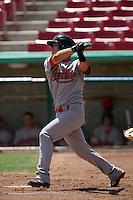 Jae Yun Kim #22 of the Visalia Rawhide bats against the High Desert Mavericks at Stater Bros. Stadium on May 16, 2012 in Adelanto,California. (Larry Goren/Four Seam Images)