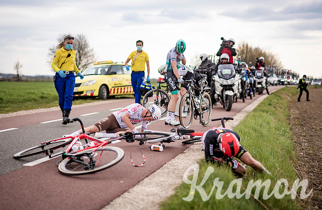 Bob Jungels (LUX/AG2R Citroën) involved in a crash at the back of the peloton<br /> <br /> 55th Amstel Gold Race 2021 (1.UWT)<br /> 1 day race from Valkenburg to Berg en Terblijt; raced on closed circuit (NED/217km)<br /> <br /> ©kramon