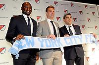 Philadelphia, PA - Thursday January 19, 2018: Patrick Vieira, Jeff Caldwell, Claudio Reyna during the 2018 MLS SuperDraft at the Pennsylvania Convention Center.