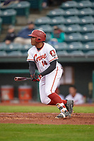 Altoona Curve designated hitter Edwin Espinal (14) during a game against the New Hampshire Fisher Cats on May 11, 2017 at Peoples Natural Gas Field in Altoona, Pennsylvania.  Altoona defeated New Hampshire 4-3.  (Mike Janes/Four Seam Images)