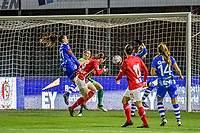 Standard forward Sanne Schoenmakers (8) scores 0-1 during a female soccer game between  AA Gent Ladies and Standard Femina de Liege on the 8 th matchday of the 2020 - 2021 season of Belgian Scooore Womens Super League , friday 20 th of November 2020  in Oostakker , Belgium . PHOTO SPORTPIX.BE | SPP | STIJN AUDOOREN