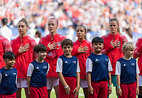 PARIS,  - JUNE 16: Morgan Brian #6, Becky Sauerbrunn #4, Mallory Pugh #2, and  Alyssa Naeher #1 stand for the national anthem during a game between Chile and USWNT at Parc des Princes on June 16, 2019 in Paris, France.