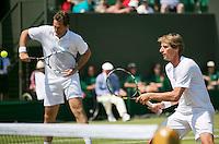 England, London, 28.06.2014. Tennis, Wimbledon, AELTC, Gentlemen's invitational doubles, Paul Haarhuis (NED) and his partner Jacco Eltingh (NED) (L)<br /> Photo: Tennisimages/Henk Koster