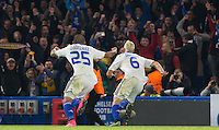 Aleksandar Dragovic of Dynamo Kiev (Dynamo Kyiv) runs to celebrate with the away fans after equalising during the UEFA Champions League Group G match between Chelsea and Dynamo Kyiv at Stamford Bridge, London, England on 4 November 2015. Photo by Andy Rowland.