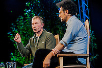 Tuesday 27 May 2014, Hay on Wye, UK<br /> Pictured: Tony Parsons talks to Sfraz Manzoor at the Hay Festival <br /> Re: The Hay Festival, Hay on Wye, Powys, Wales UK.