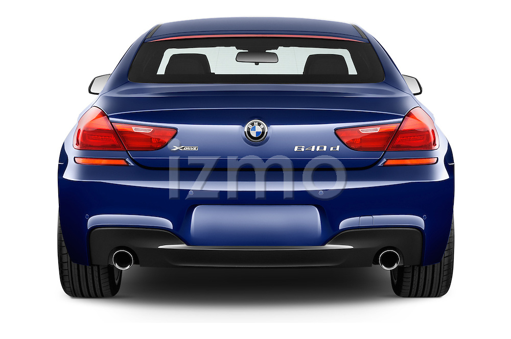 Straight rear view of a 2015 BMW 6 Series M Sport 2 Door Coupe stock images