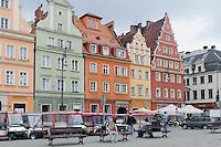 Giebel-Häuser am Salzmarkt (Plac Solny) in Wroclaw (Breslau), Woiwodschaft Niederschlesien (Województwo dolnośląskie), Polen, Europa<br /> Gable houses at Salt Market (Plac Solny) in Wroclaw,  Poland, Europe