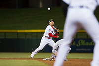 Mesa Solar Sox second baseman Jahmai Jones (9), of the Los Angeles Angels organization, throws to first base to try to complete a double play during an Arizona Fall League game against the Salt River Rafters at Sloan Park on October 16, 2018 in Mesa, Arizona. Salt River defeated Mesa 2-1. (Zachary Lucy/Four Seam Images)