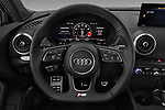 Car pictures of steering wheel view of a 2018 Audi S3 Sportback Base 5 Door Hatchback