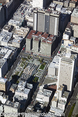 aerial photograph Union Square San Francisco Westin St. Francis hotel