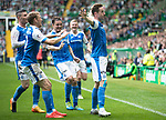 Celtic v St Johnstone …26.08.17… Celtic Park… SPFL<br />Steven MacLean celebrates his goal with David Wotherspoon, Michael O'Halloran, Paul Paton and Brian Easton<br />Picture by Graeme Hart.<br />Copyright Perthshire Picture Agency<br />Tel: 01738 623350  Mobile: 07990 594431