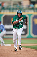 Fort Wayne TinCaps first baseman Carlos Belen (27) runs the bases during a game against the West Michigan Whitecaps on May 17, 2018 at Parkview Field in Fort Wayne, Indiana.  Fort Wayne defeated West Michigan 7-3.  (Mike Janes/Four Seam Images)