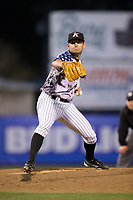 Kannapolis Intimidators relief pitcher Kyle Kubat (1) in action against the Lakewood BlueClaws at Kannapolis Intimidators Stadium on April 7, 2017 in Kannapolis, North Carolina.  The BlueClaws defeated the Intimidators 6-4.  (Brian Westerholt/Four Seam Images)