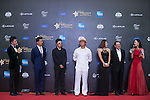 Man Wenjun (hat), Ricky Chan (blue jacket), Huang Gexuan (sunglasses), Danny Lau (necktie), and Cindy Lee on the Red Carpet event at the World Celebrity Pro-Am 2016 Mission Hills China Golf Tournament on 20 October 2016, in Haikou, China. Photo by Marcio Machado / Power Sport Images
