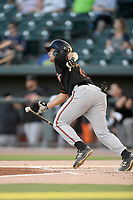 Center fielder Nick Horvath (20) of the Delmarva Shorebirds bats in a game against the Columbia Fireflies on Thursday, May 2, 2019, at Segra Park in Columbia, South Carolina. Delmarva won, 1-0. (Tom Priddy/Four Seam Images)