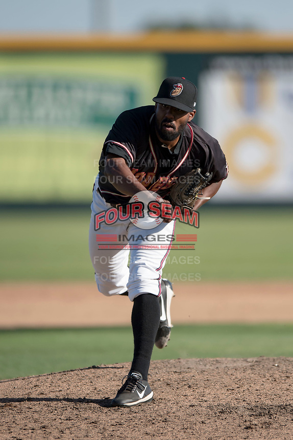 Modesto Nuts starting pitcher Reggie McClain (9) follows through on his delivery during a California League game against the San Jose Giants at John Thurman Field on May 9, 2018 in Modesto, California. San Jose defeated Modesto 9-5. (Zachary Lucy/Four Seam Images)