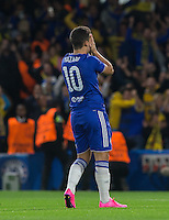 Eden Hazard of Chelsea covers his face after blasting his penalty over during the UEFA Champions League match between Chelsea and Maccabi Tel Aviv at Stamford Bridge, London, England on 16 September 2015. Photo by Andy Rowland.