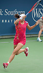 Christina McHale (USA) retires in the third set on August 14, 2012 at the Western and Southern event in Cincinnati, suffering from a gastro-intestinal ailment.