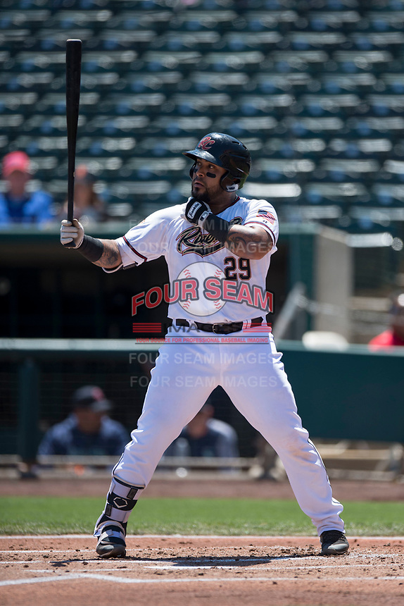 Sacramento RiverCats catcher Hector Sanchez (29) at bat during a Pacific Coast League against the Tacoma Rainiers at Raley Field on May 15, 2018 in Sacramento, California. Tacoma defeated Sacramento 8-5. (Zachary Lucy/Four Seam Images)