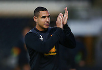 Jake Livermore of Hull City applauds the fans during the warm up ahead of the Capital One Cup match between Hull City and Swansea City played at the Kingston Communications Stadium, Hull