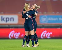 BREDA, NETHERLANDS - NOVEMBER 27: Kristie Mewis #22 of the USWNT celebrates her goal with Samantha Mewis #3 and Alex Morgan #13 during a game between Netherlands and USWNT at Rat Verlegh Stadion on November 27, 2020 in Breda, Netherlands.