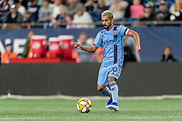 FOXBOROUGH, MA - SEPTEMBER 29: Maximiliano Moralez #10 of New York City FC passes the ball during a game between New York City FC and New England Revolution at Gillette Stadium on September 29, 2019 in Foxborough, Massachusetts.