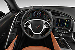 Car pictures of steering wheel view of a 2018 Chevrolet Corvette Stingray Coupe 2LT 3 Door Targa